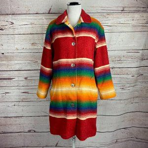 Vintage 80s Woolrich Rainbow Striped Jacket Sz S